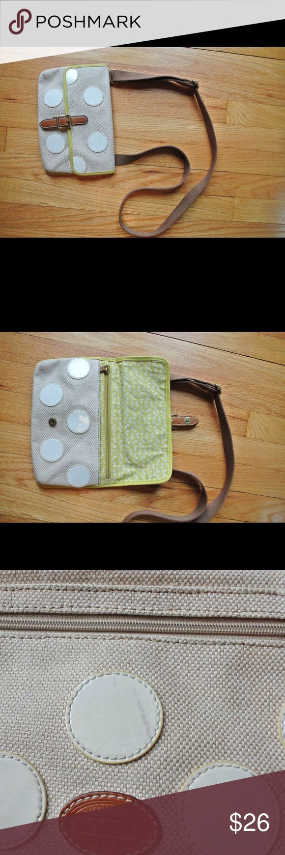 Fossil polka dot mini shoulder bag! Fossil polka dot mini shoulder bag! This is in really good shape except for a tiny scuff on the back. The lining is very clean and it hits at about the hip! Fossil Bags Crossbody Bags