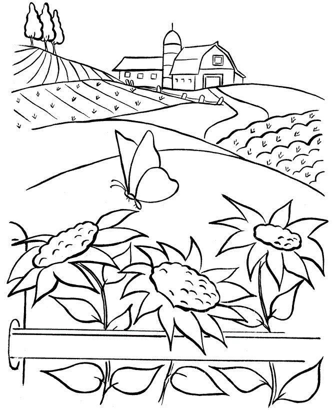 Farm With Very Beautiful Coloring Pages For Kids Printable