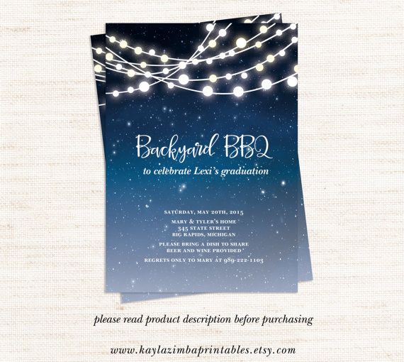 Backyard BBQ Invitation Printable, Patio Party Graduation ...