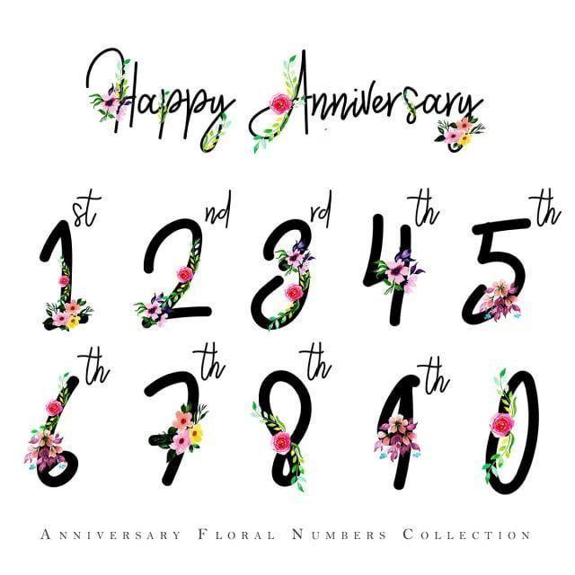 Numeros De Joyeux Anniversaire Floral Aquarelle Aquarelle Couleur Floral Png Et Vecteur Pour Telechargement Gratuit Happy Anniversary Floral Watercolor Happy Birthday Png