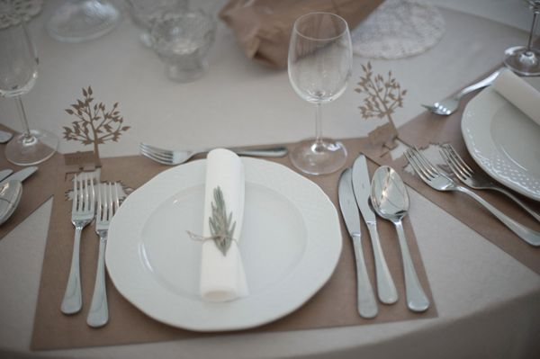 Cut out trees in place mats.