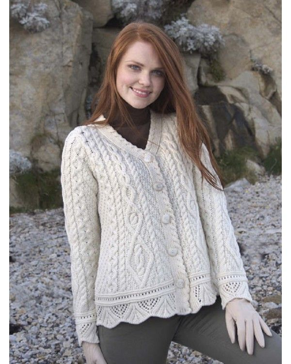 ARAN PATTERN LACE BUTTON CARDIGAN X4268 . Creative use of traditional Irish Fisherman patterns in this stunning cardigan made from 100% Merino wool.