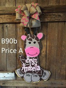 B90 - Baby Giraffe Door Hanger - Giraffe Hospital Door Hanger - Birth Announcement Sign