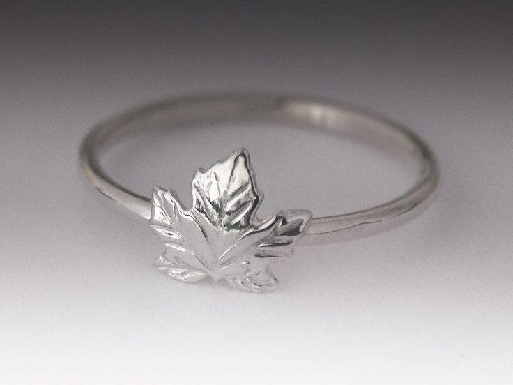 Maple Leaf Ring - Stackable Sterling Silver Maple Leaf Ring. $22.00, via Etsy.