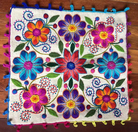 Nuevo en stock Perú fundas bordadas flores 16 x 16 ovejas y