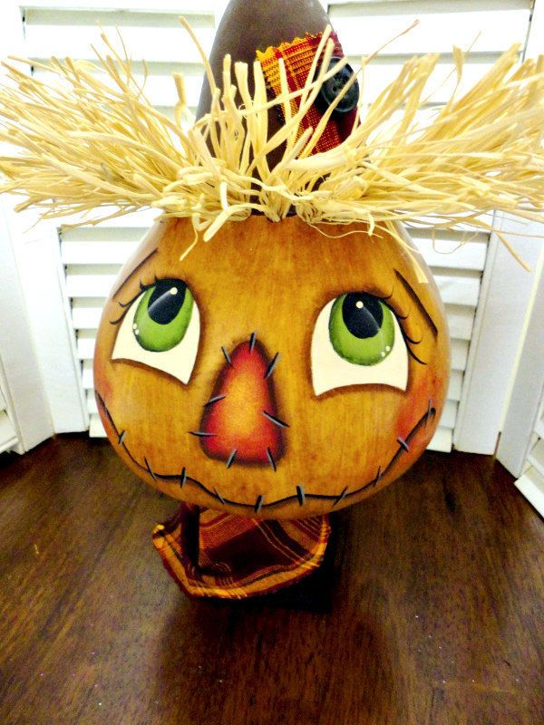 Hand Painted Primitive Autumn Fall Scarecrow Gourd
