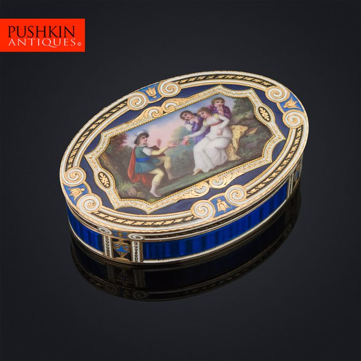 ANTIQUE 19thC FRENCH 18k GOLD & HAND PAINTED ENAMEL SNUFF BOX c.1840