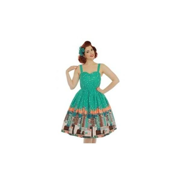 'Bambi' New York Print Swing Dress (€22) ❤ liked on Polyvore featuring dresses, rockabilly dresses, vintage evening dresses, green evening dresses, christmas cocktail dresses and swing dress