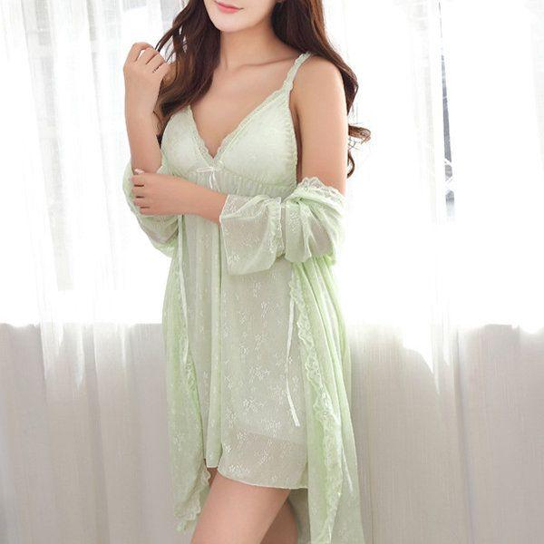 Sexy Jacquard Mesh Padding Two-pieces Nightdress Deep V Sleepwear For Women - Newchic