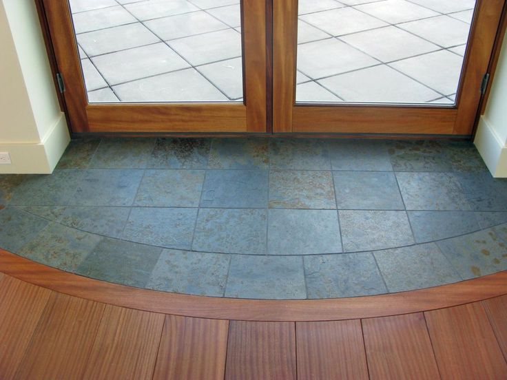 Tile Flooring Options   Interior Design Styles and Color Schemes for Home Decorating   HGTV   Love the half moon tile inlay before the wood starts!
