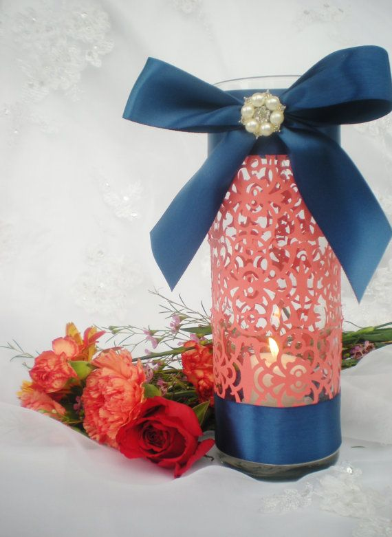 "Wedding centerpiece, 10"" tall, coral navy blue, intricate elegant design, CUSTOM COLORS available on Etsy, $14.99"