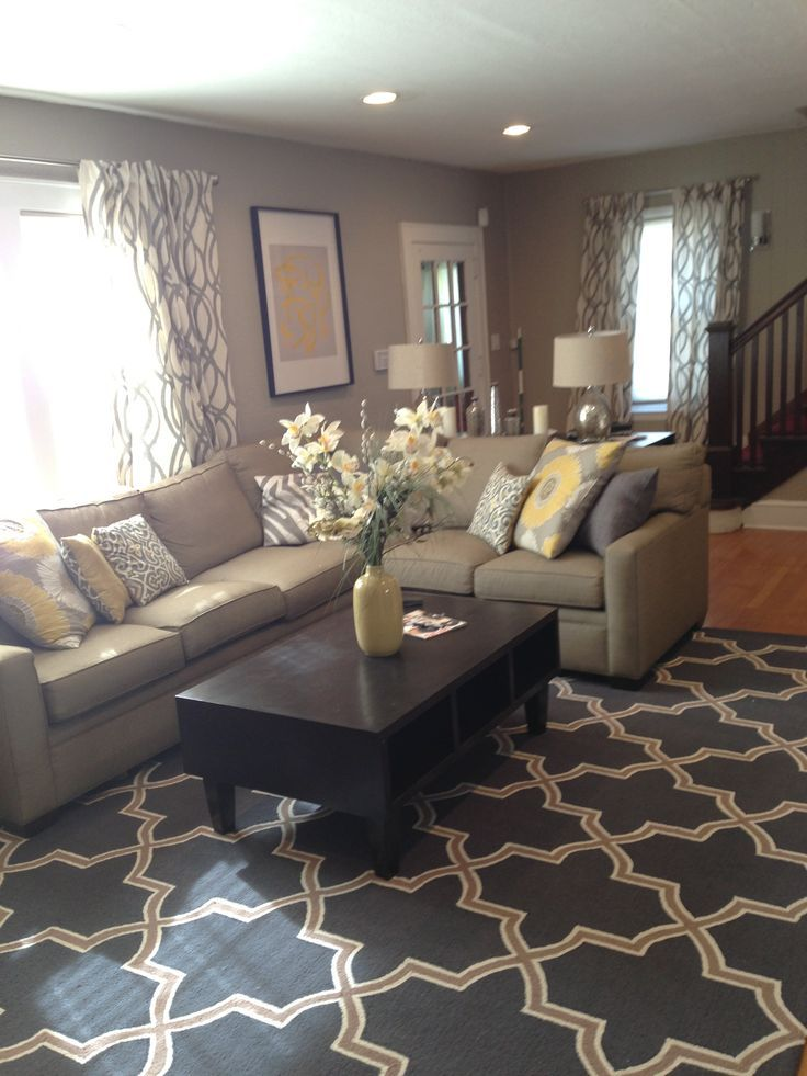 yellow and gray living room.  Love this color gray and sectional Pinteres