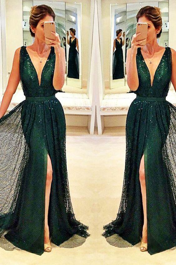 dark green prom dress, long prom dress, v-neck prom dress, side slit evening dress, sparkle prom dress, BD491