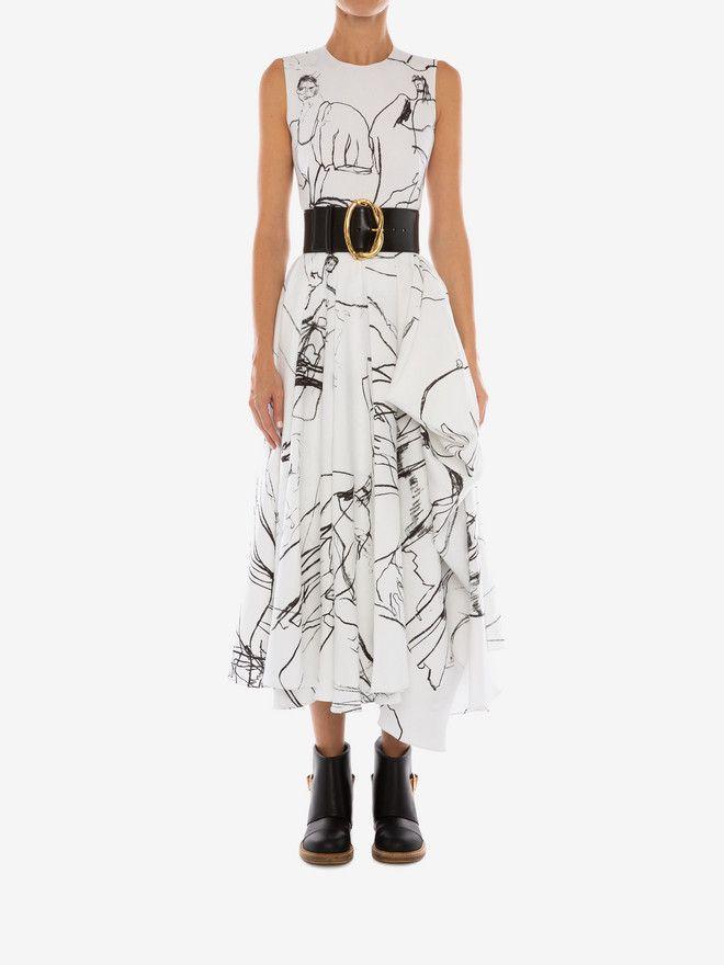 Women S Optic White Black Dancing Girls Asymmetric Midi Dress Alexander Mcqueen Midi Dress Dresses Girl Dancing
