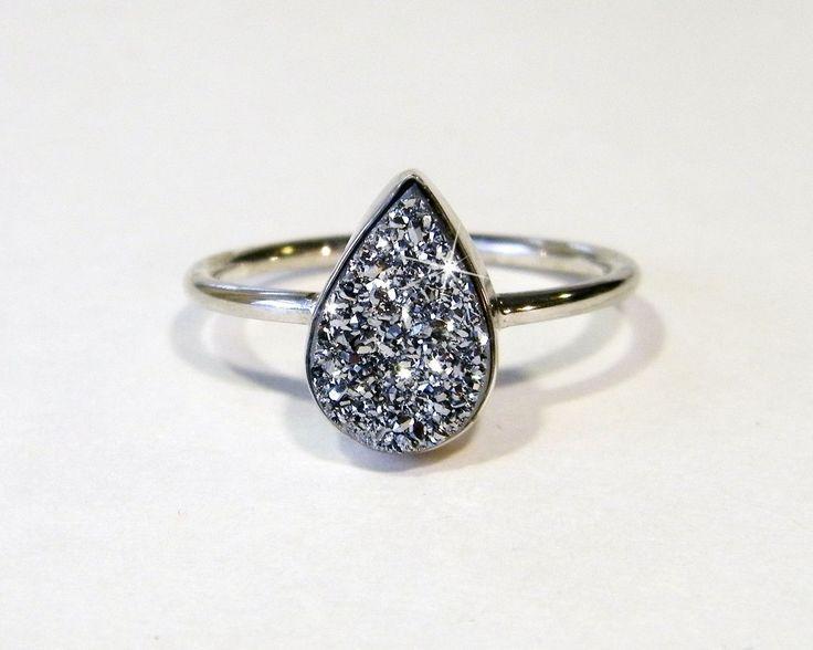 Teardrop Titanium Druzy Ring