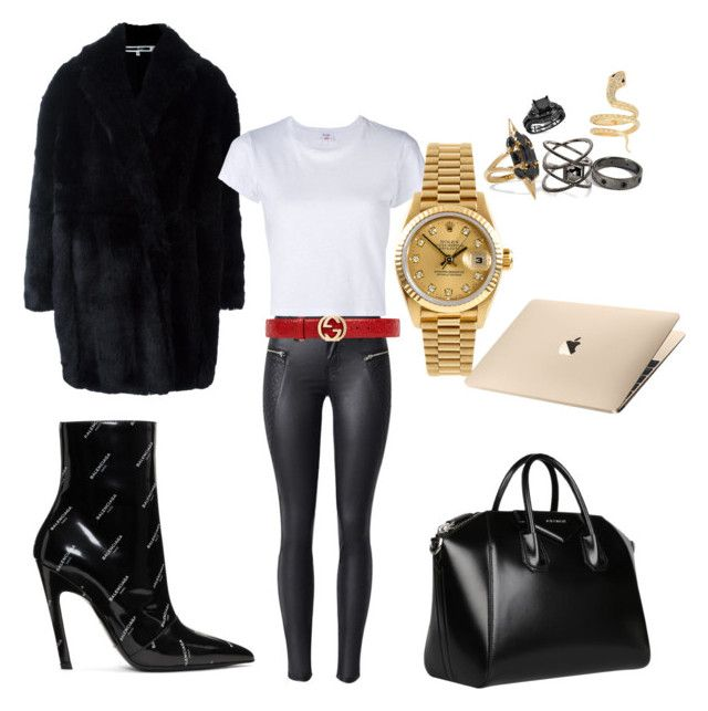 """""""Sunday job"""" by madisonkiss on Polyvore featuring Balenciaga, Noir Jewelry, Eva Fehren, Iconery Basics, Givenchy, Gucci, Alexander McQueen, RE/DONE and Rolex"""