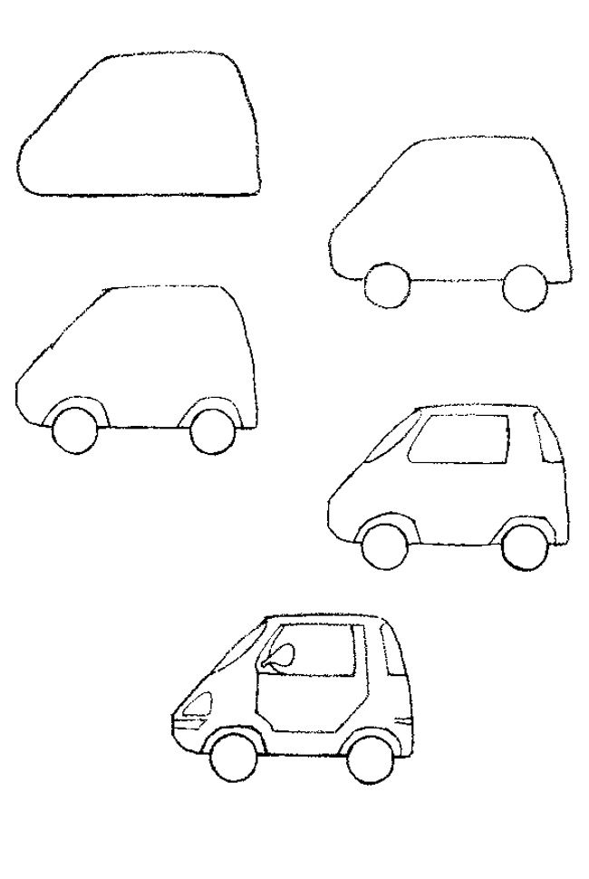 how to draw auto kids - Cars Drawings Step By Step