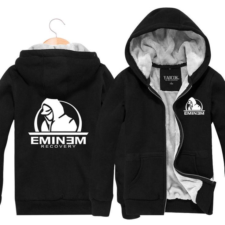 Eminem Rock Band New Men Hoodies Mens Sweatshirt Fashion Zipper Cardigan Thickening Plus Velvet Jacket CottonSports Coat 002 #Affiliate