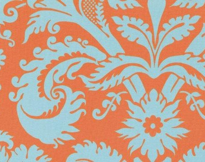 Cotton sewing quilting fabric by the 1/2 yard - NOT laminated - Amy Butler Belle Acanthus - Duck egg orange blue - PWAB109