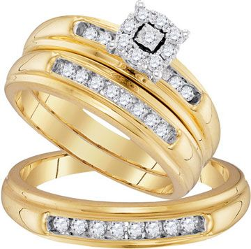 Three Piece Wedding Set 10K Yellow Gold 043 Cts GD 96751