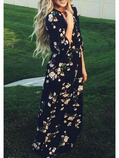 floral spring dress, navy long sleeve dress, floral maxi dress - Crystalline