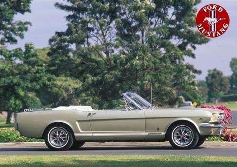 12450 - FORD - MUSTANG 1965 - Conversível dourado- 41x29 cm. -