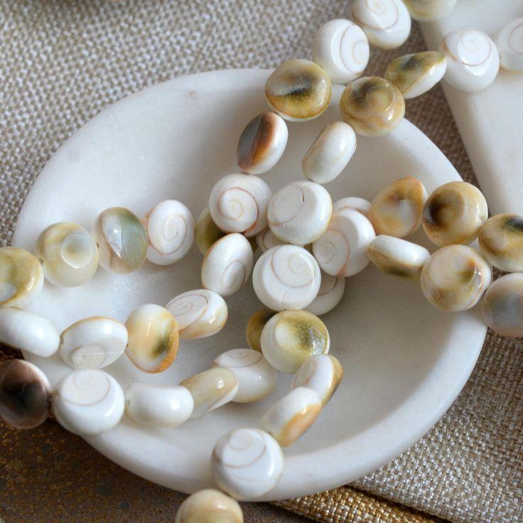 Round Shiva's Eye Beads, Shivas Eye Beads, Operculum Beads, Round White Shell Beads, Shiva Eye Beads, Naga, Tibetan Beads, Strand, HA17 by WanderlustWorldArts on Etsy