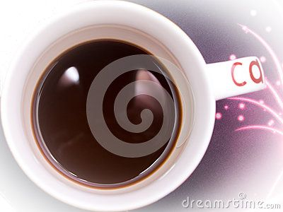 A cup of coffee with milk close, top view, on a purple background