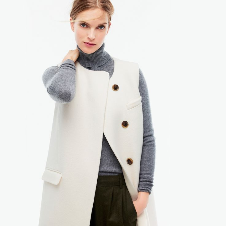 J.Crew Looks We Love: women's Collection double-faced sleeveless coat, Collection cashmere turtleneck sweater, cropped pant, Collection Peyton bag in calf hair and Collection Elsie calf hair pumps.