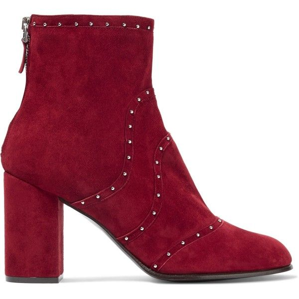 Belstaff Pointet studded suede ankle boots (1.275 BRL) ❤ liked on Polyvore featuring shoes, boots, ankle booties, burgundy, high heel booties, burgundy booties, burgundy suede boots, high heel bootie and suede boots