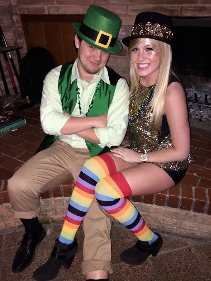 leprechaun found his pot of gold at the end of the rainbow- easy DIY halloween couples costume!