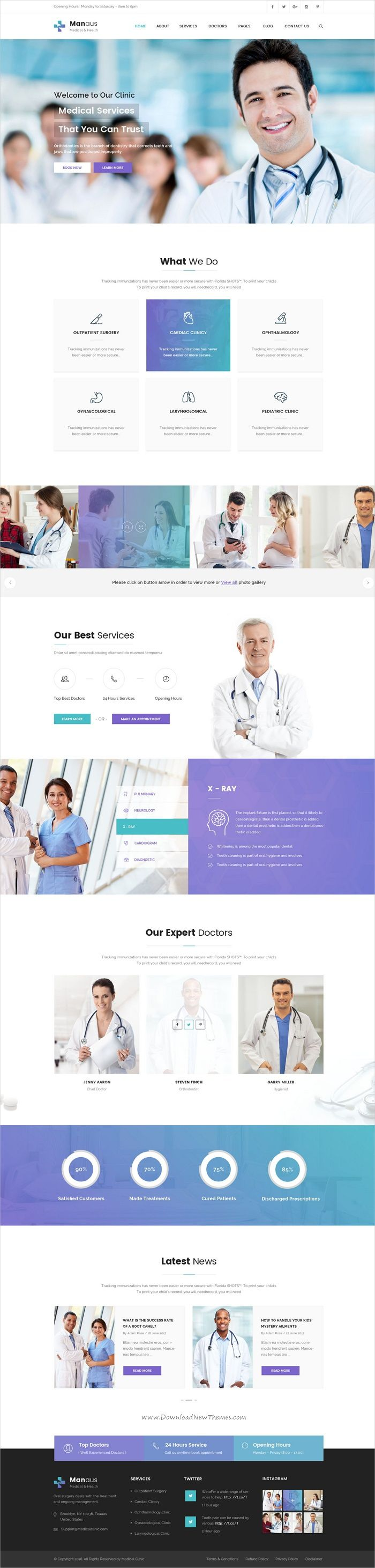 Manaus is clean and modern design #Photoshop template for #medical and #healthcare website with 12 layered PSD files download now..