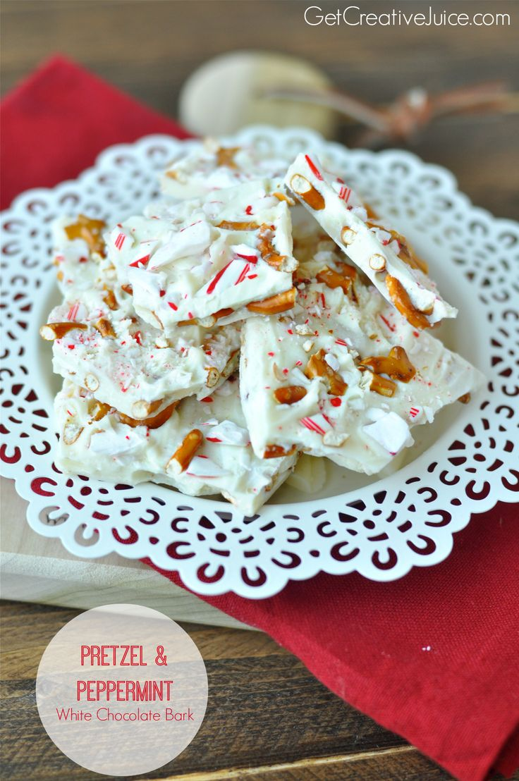 White chocolate bark with pretzels and pepermint