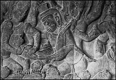 A History of Abortion | Bas relief at Angkor Wat, c. 1150, depicting a demon performing an abortion upon a woman who has been sent to the underworld.