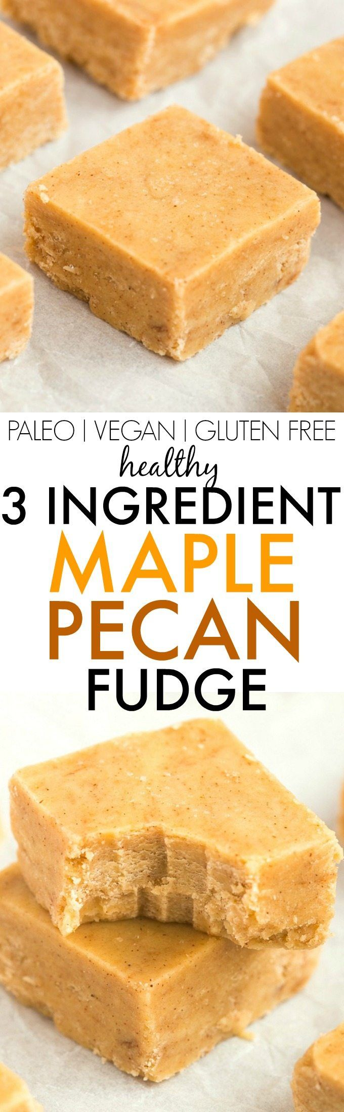 Healthy 3 Ingredient Maple Pecan Fudge- Smooth, creamy and melt-in-your mouth fudge which takes minutes and has NO dairy, refined sugar or butter but you'd never tell- A delicious snack or dessert (perfect for Christmas and holidays!)! {vegan, gluten free, paleo recipe}- thebigmansworld.com