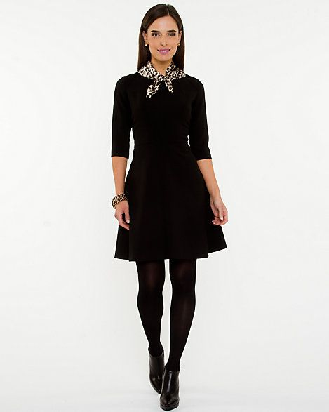 Fit & Flare Dress with Scarf