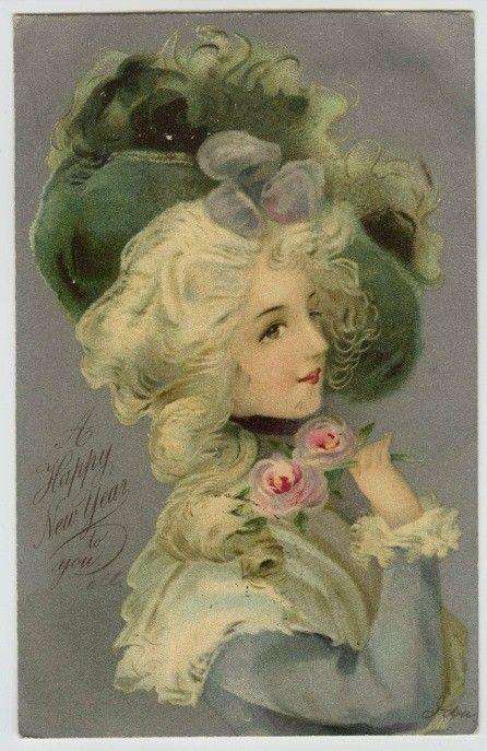Rococo style postcard