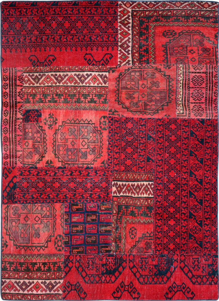 Red Patchwork Persian Rug 4 8 X 6 Ft