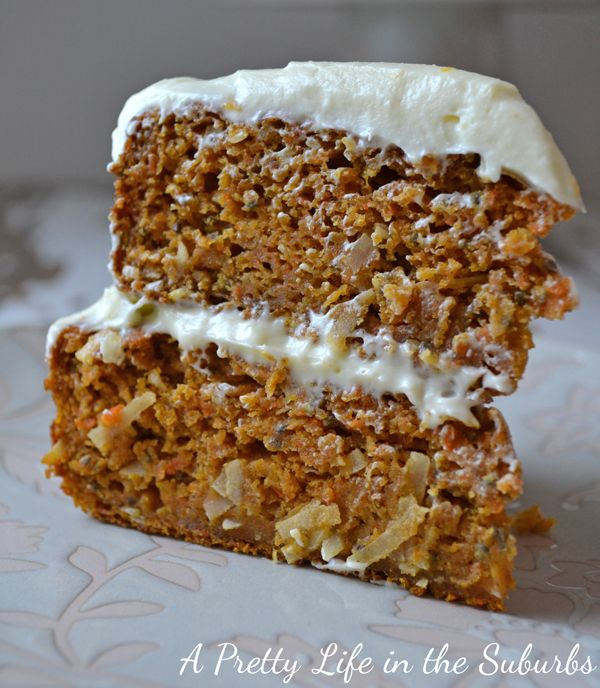 Layered Carrot Cake  //  Great recipe with pumpkin puree to make it extra moist.  Love the addition of shredded coconut too!