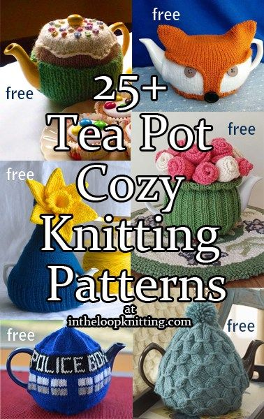 Knitting patterns forTea pot cozies to keep your tea stylish and hot in fanciful, fashionable or traditional designs. Most of the patterns are free