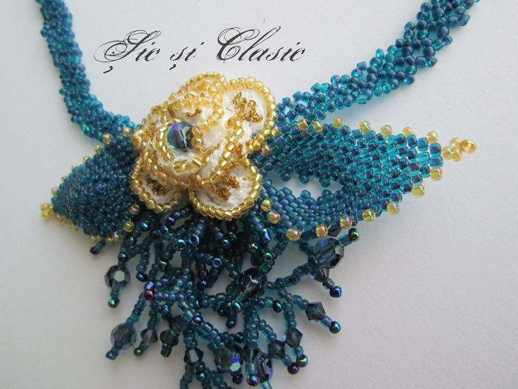 Colier cristale Swarovski montana AB - Amaizing seed beads necklace by Adelina Maries