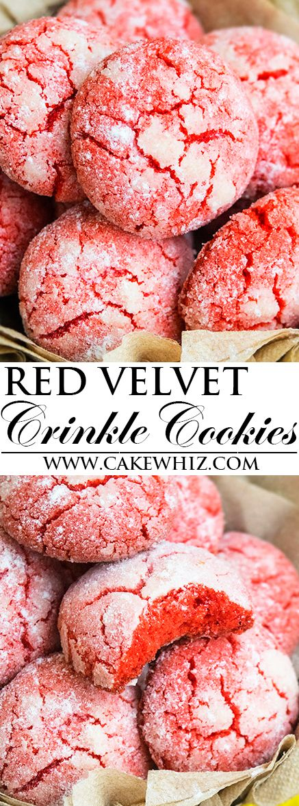 This easy classic RED VELVET CRINKLE COOKIES recipe from scratch is made with simple ingredients. They are crispy on the outside but soft on the inside. From cakewhiz.com: