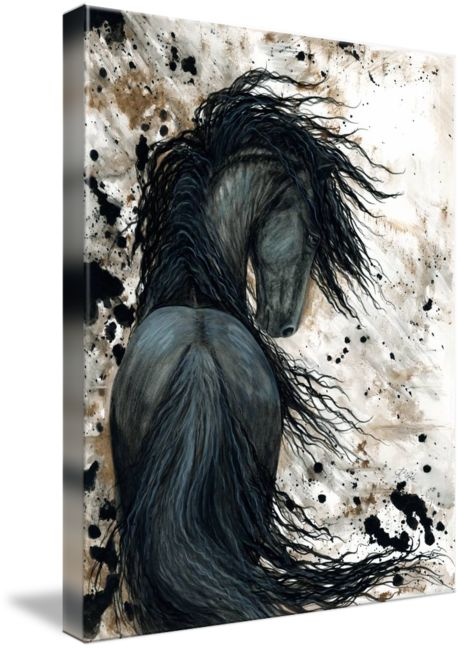 """Majestic Friesian Horse "" by AmyLyn Bihrle, New York // Majestic Series of my original horse paintings. Contact me at wildhorses@nycap.rr.com for inquiries on original paintings or commission requests. // Imagekind.com -- Buy stunning fine art prints, framed prints and canvas prints directly from independent working artists and photographers."