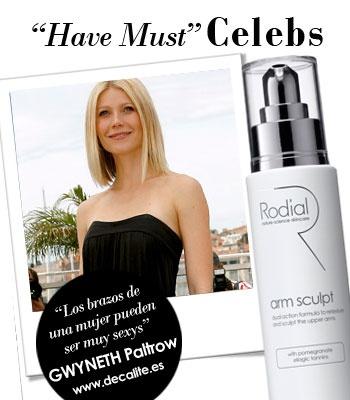 """Gwyneth Paltrow """"Los brazos de una mujer pueden ser muy sexys"""". Parece ser que Gwyneth utiliza ARM SCULPT de Rodial, para tener unos brazos íncreibles."""