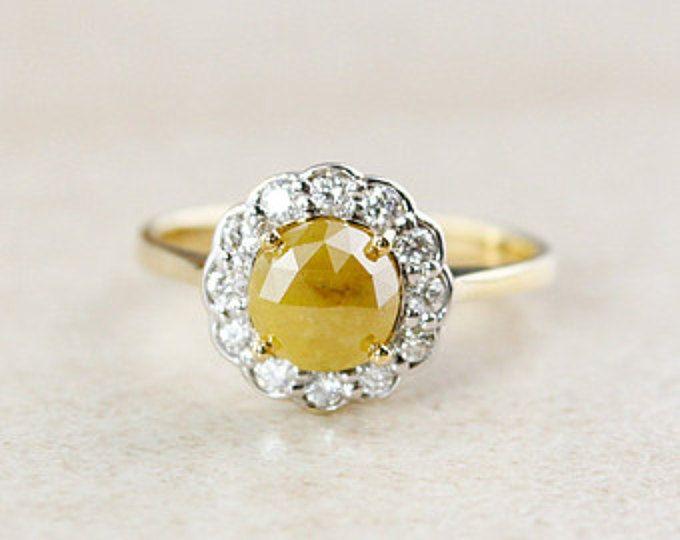 Flower Halo Diamond Ring - Vintage Inspired Engagement Ring - Rose Cut Yellow Diamond