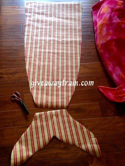 Mermaid tail sewn from fleece fabric