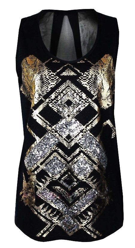 suzy black - top  chiffon back  gold foil print with snake detail