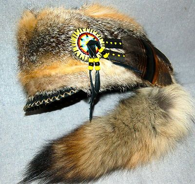 Mountain MAN Prarie FOX FUR HAT FCF Black Powder Rendezvous Regalia Buckskinner | eBay
