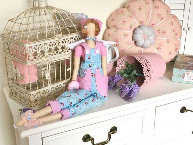 Lalka - kwiatowa tilda Tilda doll angel pink&blue roses