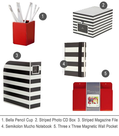 striped office supplies
